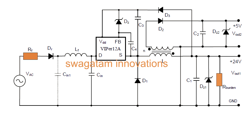 220v Smps Buck Converter Circuit For 5v 12v Homemade