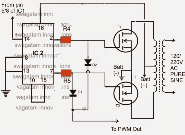 IC 556 Pure Sine Wave Inverter Circuit | Homemade Circuit