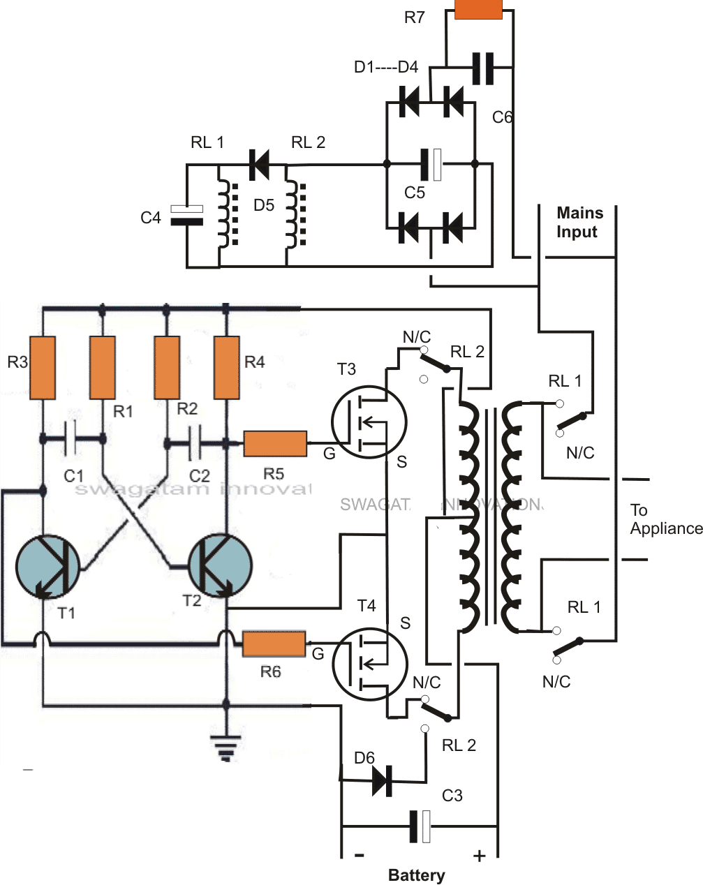 Single Transformer Inverter Charger Circuit Homemade