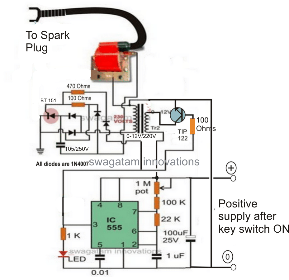 Electronic 12V DC Capacitive Discharge Ignition (CDI