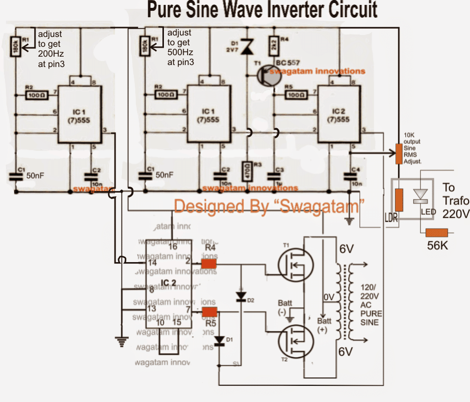 Pure Sine Wave Inverter Circuit Diagram | 300 Watts Pwm Controlled Pure Sine Wave Inverter Circuit Homemade