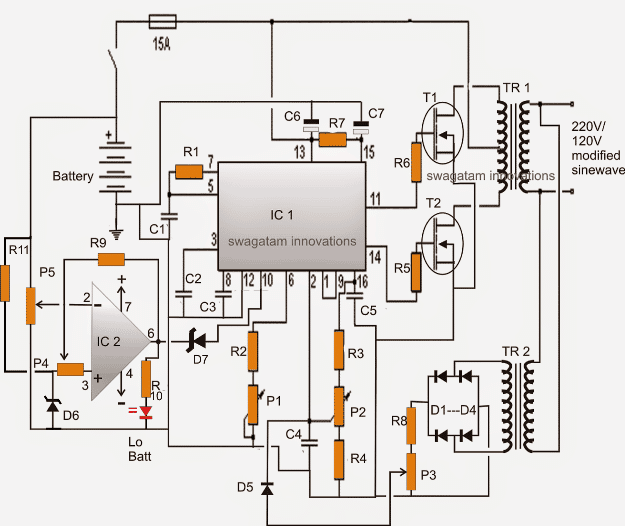24V inverter circuit with frequency adjust and low battery cut