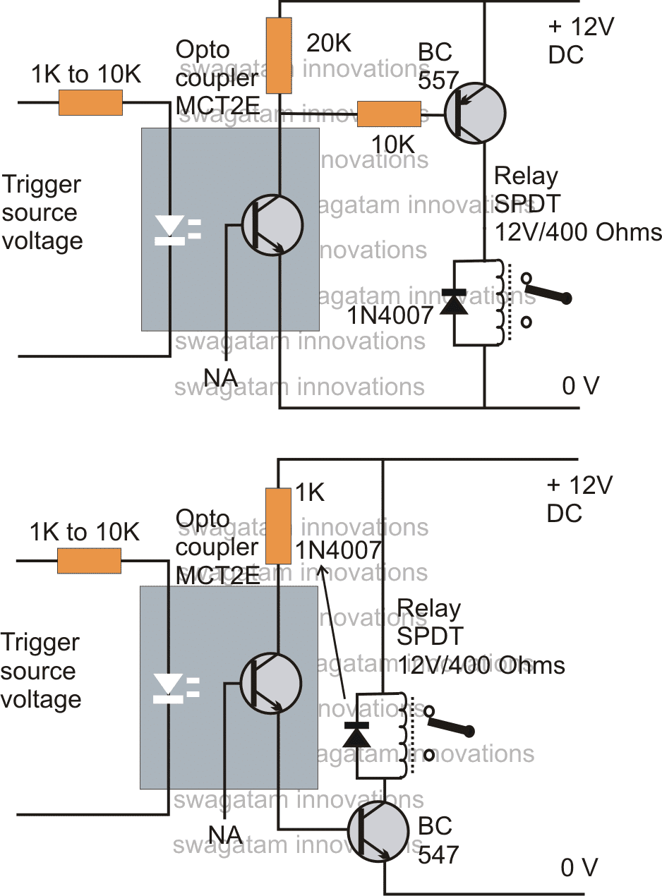 How to drive a relay through an opto coupler circuit the rest of the operations are self evident ccuart