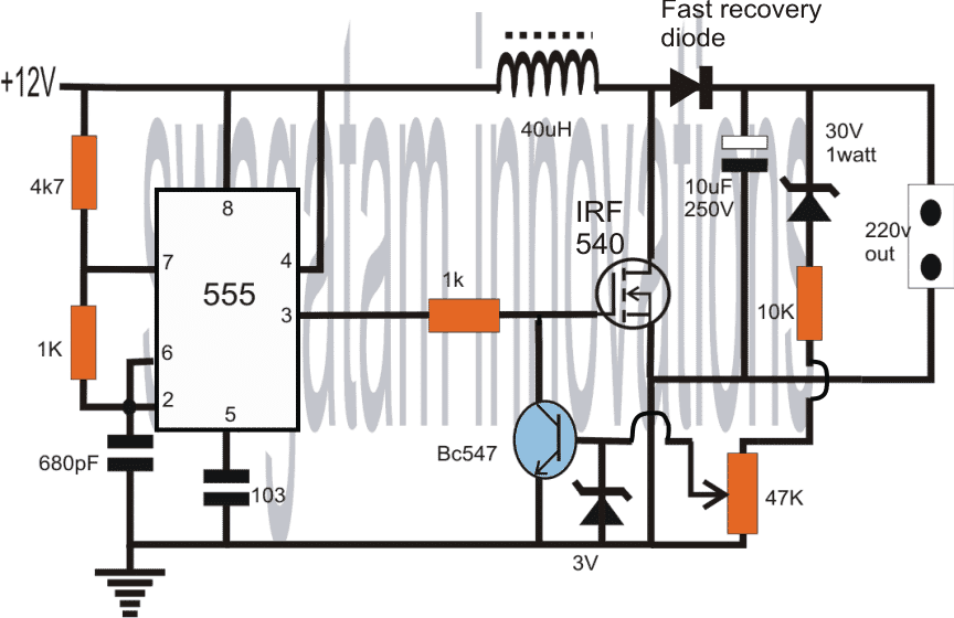 How To Convert 12v Dc To 220v Ac Homemade Circuit Projects