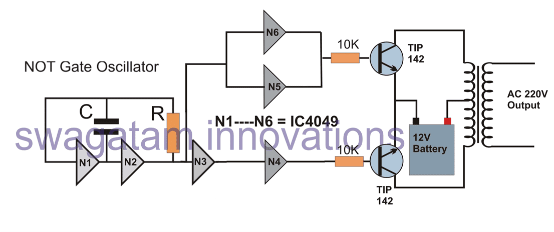simple inverter circuit using IC 4049