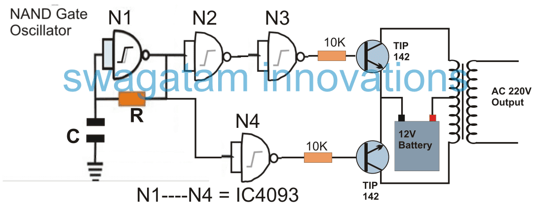IC 4093 simple inverter circuit