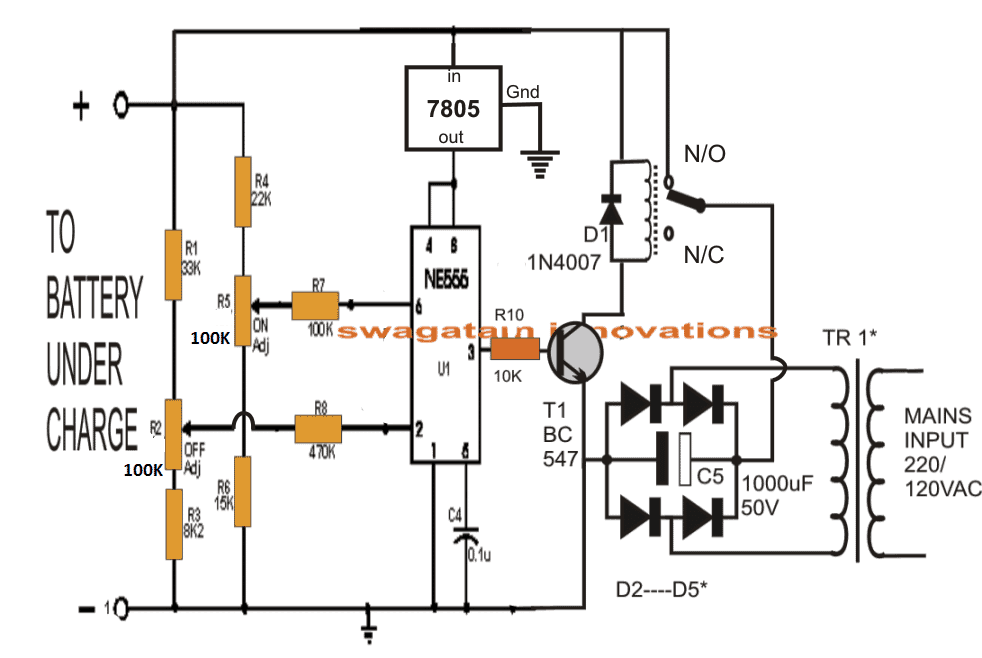 ic 555 controlled lead acid battery charger circuit