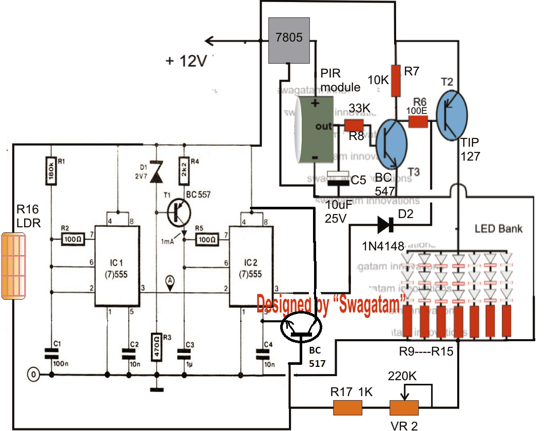 Energy Saving Automatic Led Light Controller Battery Charge Schematic As Per The Request Above Circuit Must Be Powered From A Charged Solar Charger I Have Explained Many