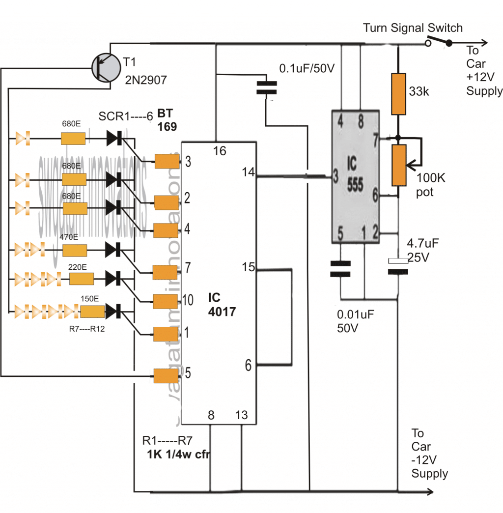 Sequential Bar Graph Turn Light Indicator Circuit For Car Homemade Signal Tail Wiring Diagram Get Free Image About