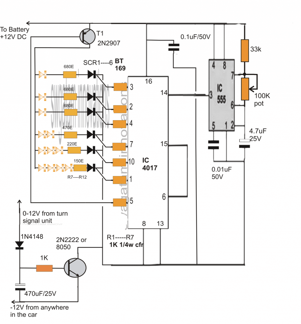 the above sequential car turn signal light circuit was successfully built  and tested by mr bruce lowry