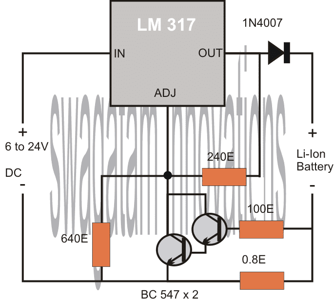 4 Simple Li-Ion Battery Charger Circuits - Using LM317