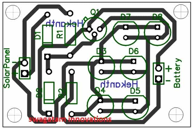 Simplest Automatic Led Solar Light on voltage regulator diagram