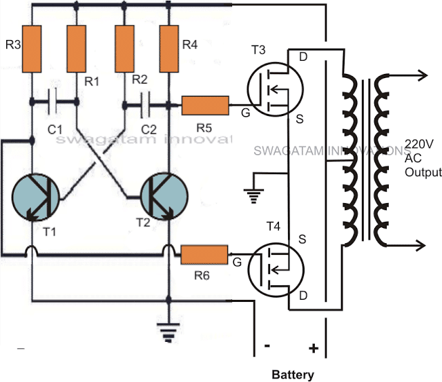 simple square wave inverter circuit