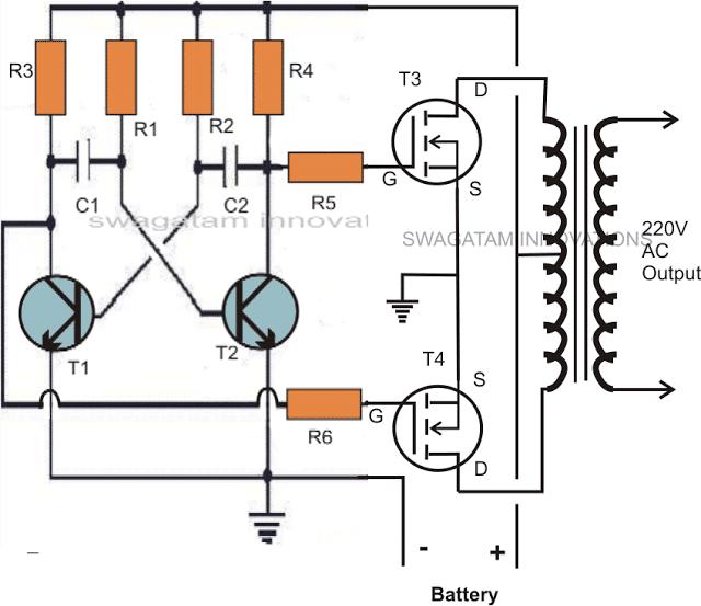 simple square wave inverter circuit