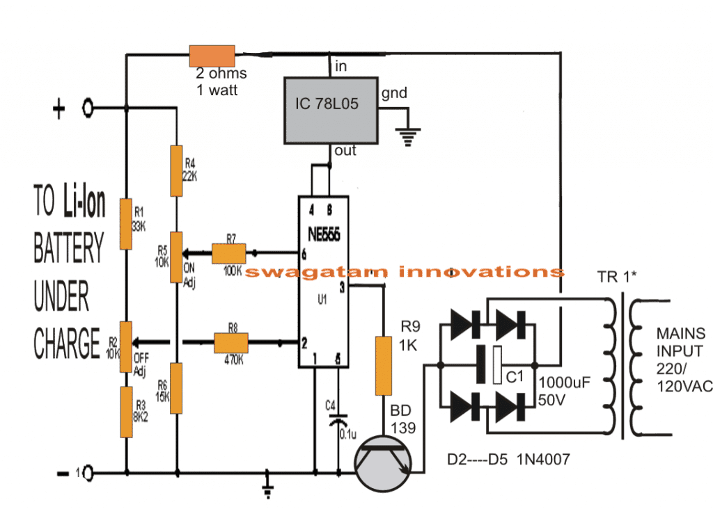 Li Ion Battery Charger Using Ic 555 Ne555 Pin Diagram Circuit