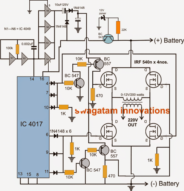 H-bridge Inverter Using 4 N-channel Mosfets