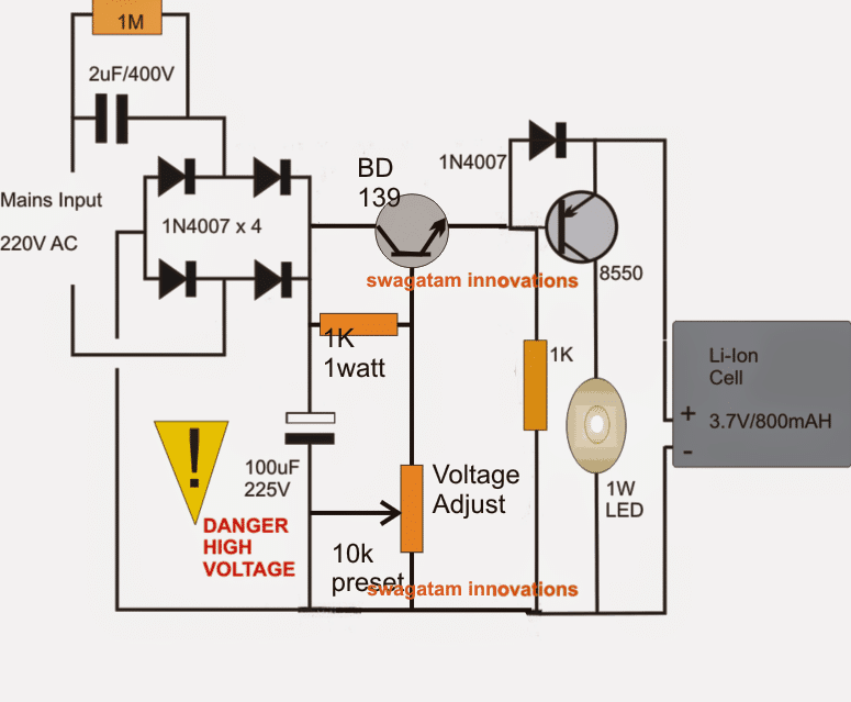 circuit diagram of 6v emergency light 10 automatic emergency light circuits homemade circuit projects  10 automatic emergency light circuits