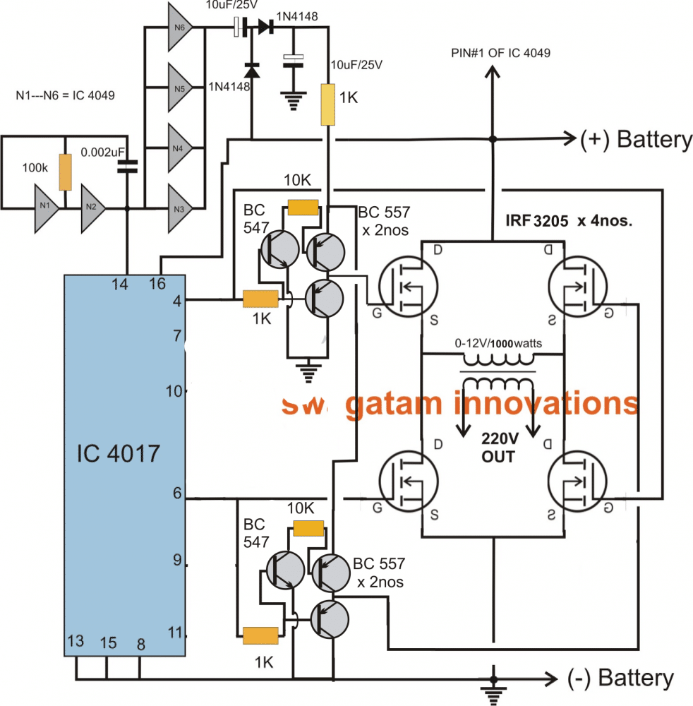 Make this 1kva 1000 watts pure sine wave inverter homemade to the mosfets can be altered and changed as per individual preferences this might also require the involvement of the reset pin15 connection asfbconference2016 Images