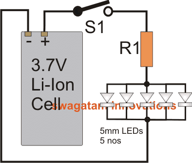 connect 20mA LEDs with 3.7V Li-Ion cell