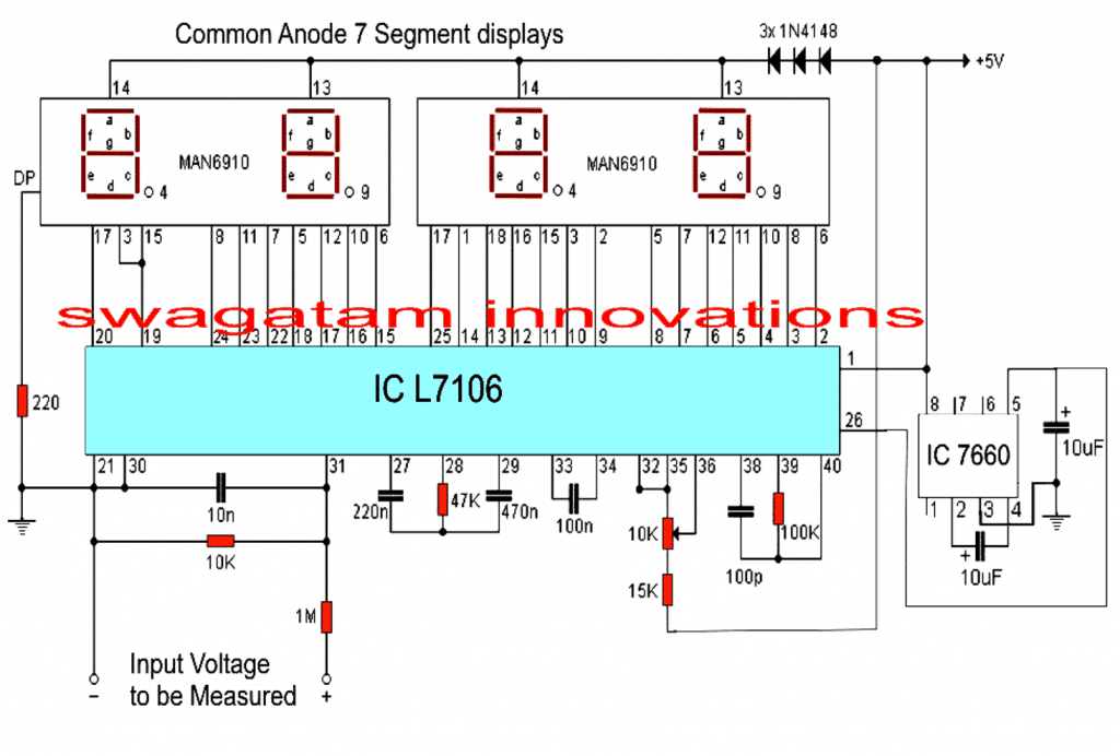 Voltmeter Circuit Diagram Digital Sample Wiring Digit Led Driver Tradeoficcom Using Ic L7107 Homemade Projects Rh Circuits Com Pdf Ac
