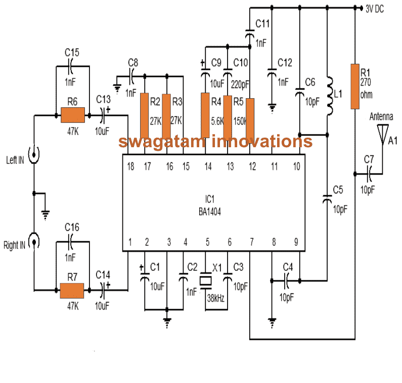 stereo fm transmitter circuit using ic ba1404