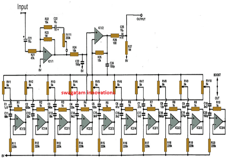 10 Band Graphic Equalizer Circuit | Homemade Circuit ProjectsHomemade Circuit Projects