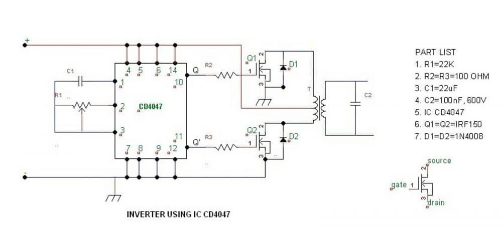 simple IC 4047 inverter circuit