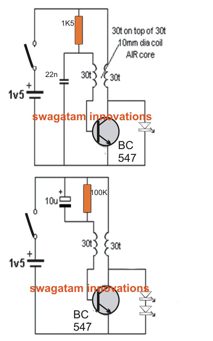 bicycle led light circuit using a single 1 5v cell