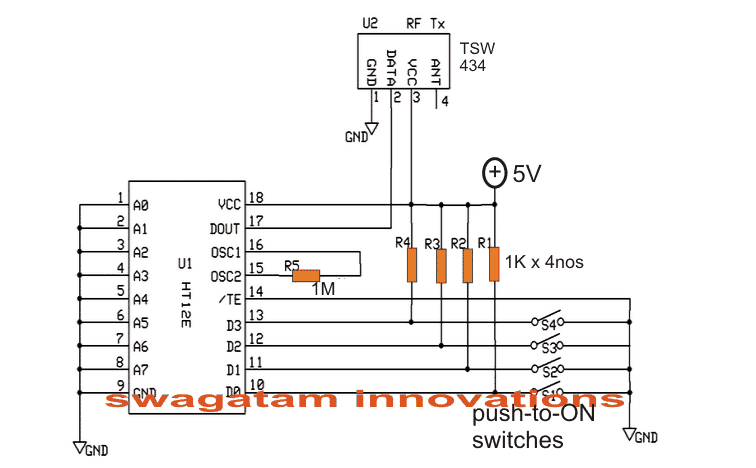 Simple RF Remote Control Circuit without Microcontroller