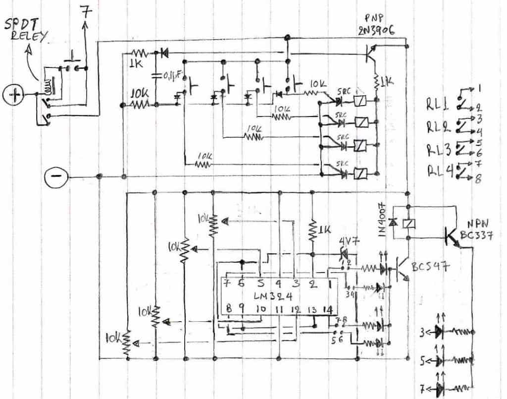Selectable 4 Step Low Voltage Battery Cut Off Mains High And Circuit Using Ic 324 Explained Having Combined Your Info A Selector I Found In Different Source By Adding My Own Ideas Came Up With The Following