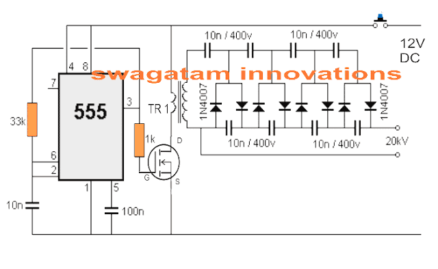 Simple Stun Gun Circuit using IC 555
