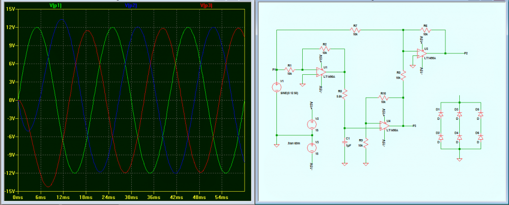 3 phase signal generator with waveform