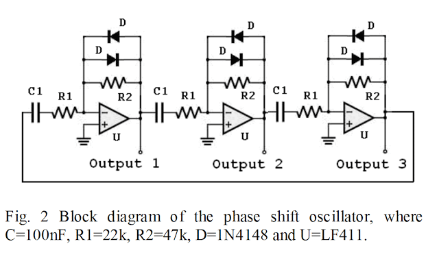 opamp 120 degree phase shift 3 phase generator circuit