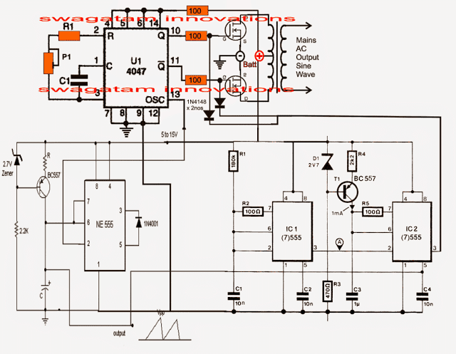 inverter circuit diagram as well pure sine wave inverter circuit rh bsmdot co