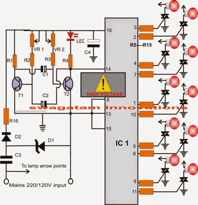 Diwali, Christmas, lamp chaser circuit 220V