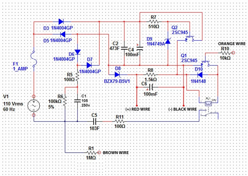 stabilized transformerless power supply circuit with relay 480v to 120v transformer wiring diagram 120v 24v transformer wiring diagram schematic #11