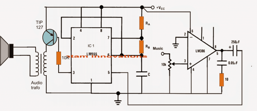 Class D Amplifier Circuit Using IC 555 | Homemade Circuit Projects