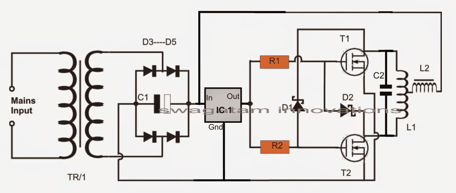 simple induction heater circuit using 2 mosfets