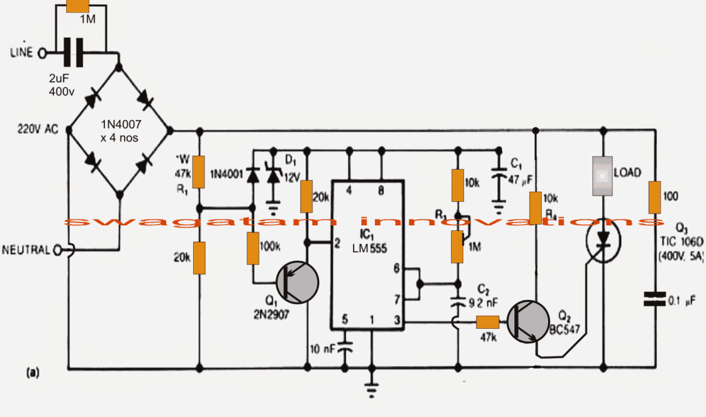 Transformerless Power Supply using IC 555