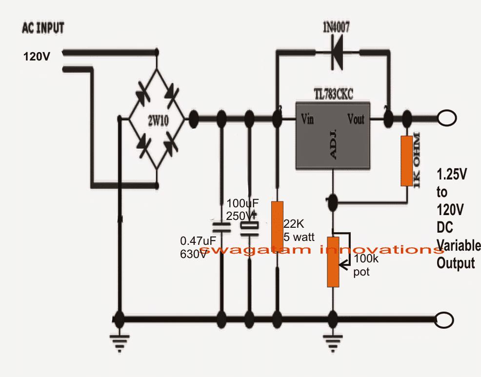 1 25v To 120v Mains Adjustable Voltage Regulator