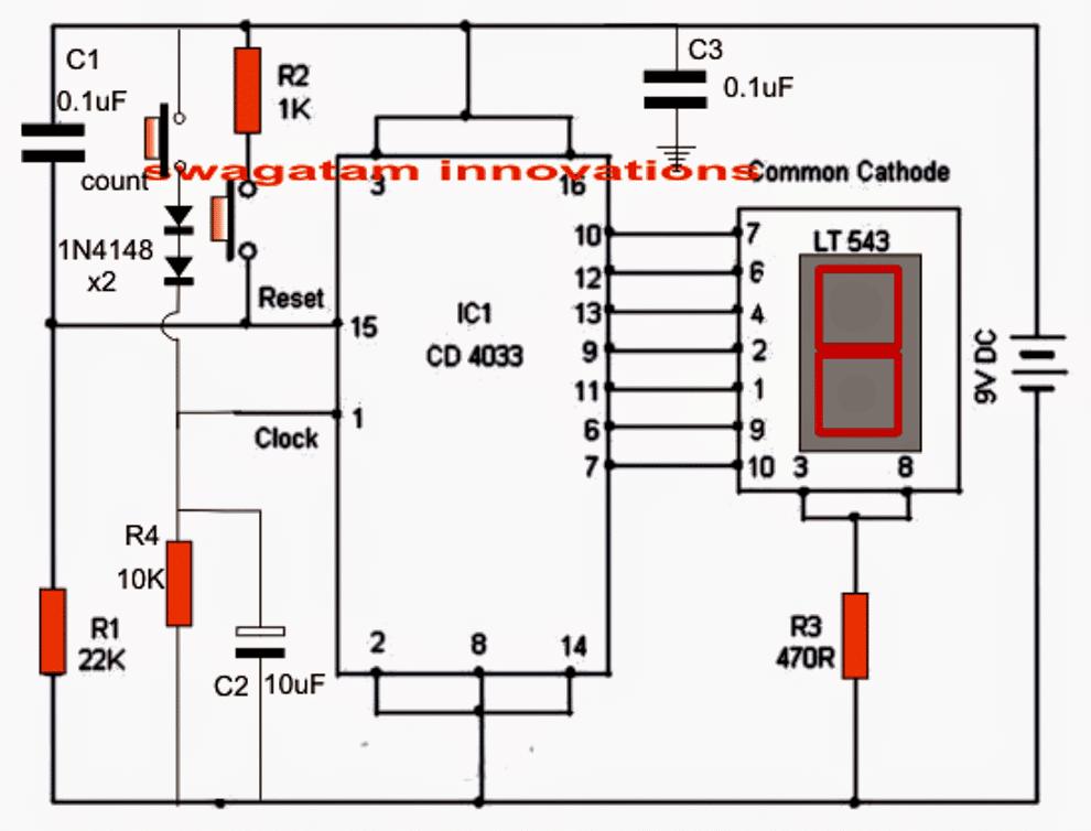 electronic scoreboard circuit using ic 4033 counter   homemade circuit  projects  homemade circuit projects