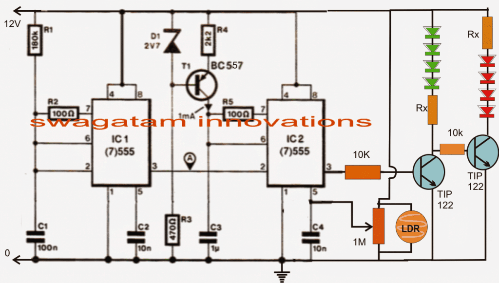 Light Dependent Led Intensity Controller 12 Volt Battery Charger Schematic Http Homemadecircuitsandschematics The Shown Circuit Is Basically A Pwm Optimizer Whose Duty Cycle Varies In Accordance With