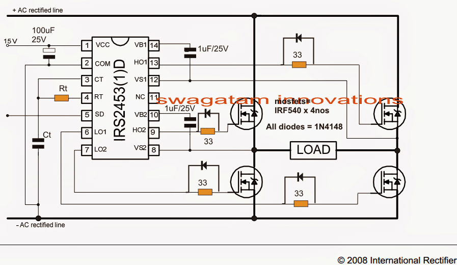 Full bridge inverter using IC IRS2453(1)D