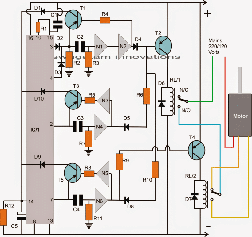 Washing Machine Motor Agitator Timer Circuit