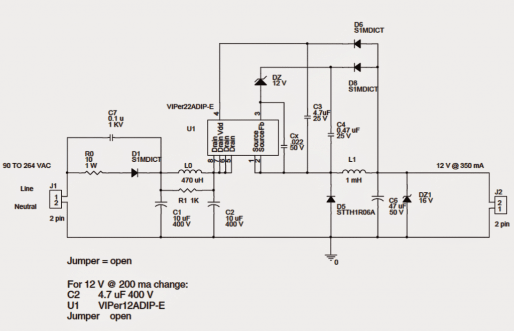 simple 1 watt to 12 watt smps led driver circuit