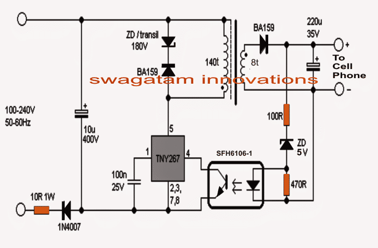 220v Smps Cell Phone Charger Circuit on telephone wiring diagram