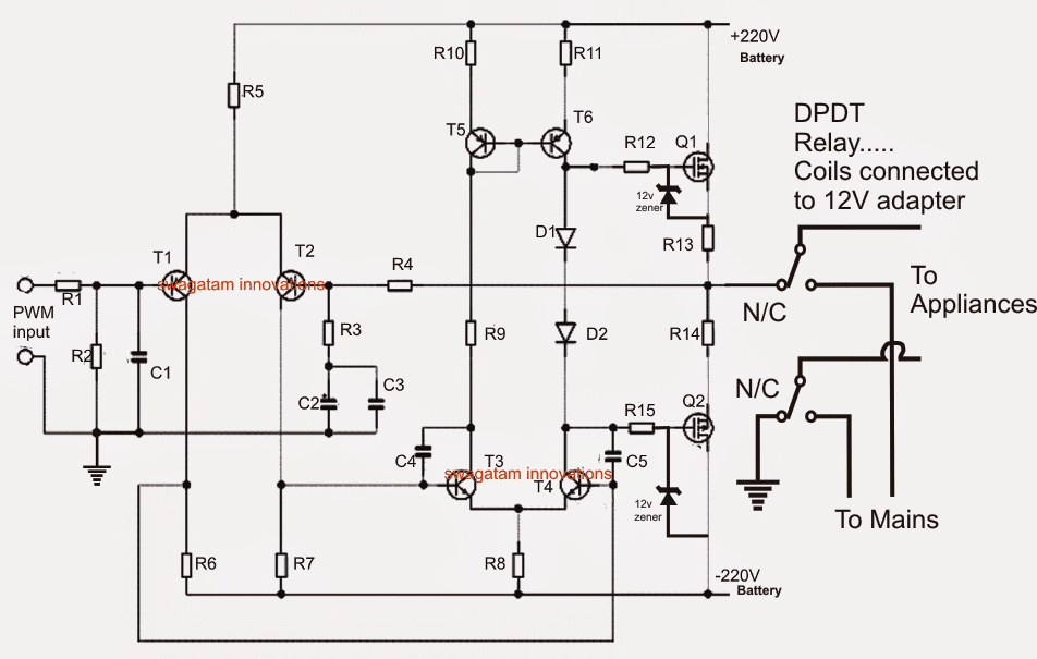 1000 watt ups circuit rh homemade circuits com mini ups circuit design ups design circuit diagram