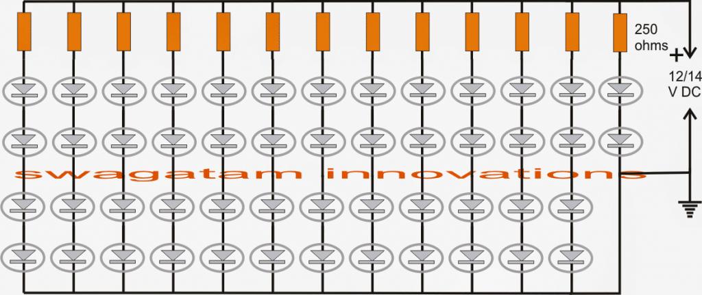 Car LED bulb circuit using 3020 SMD LEDs and current limiting resistors