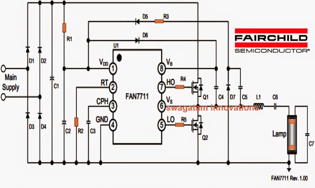 220v, 120v Mains 20 Watt Electronic Ballast Circuit