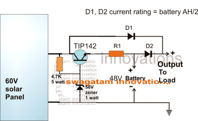48v Solar Battery Charger Circuit With High Low Cut Off